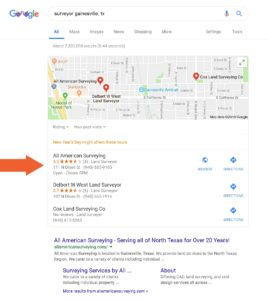 All American Surveying Google My Business Listing