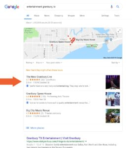 Granbury Live Google My Business Listing