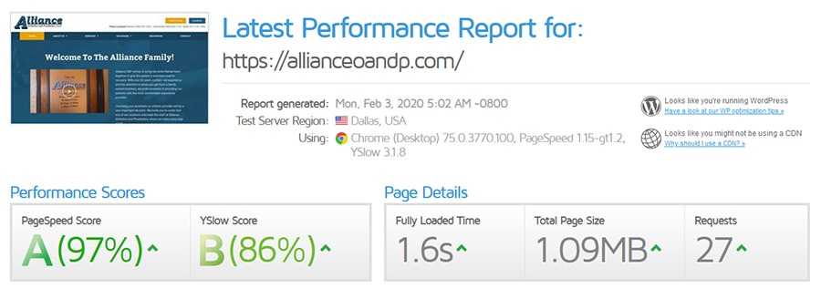 Performance Report for Alliance Orthotics