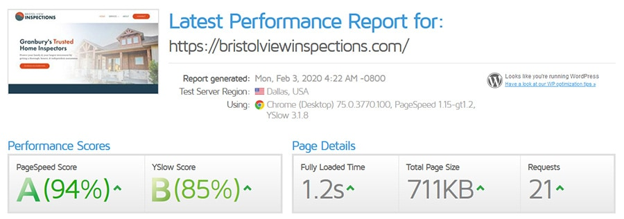 Performance Report for Bristol View