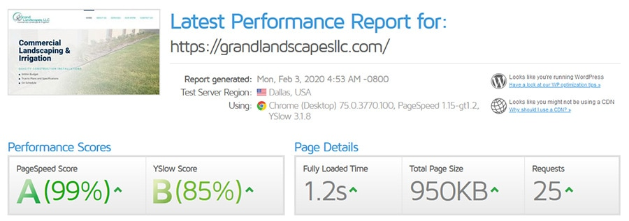Performance Report for Grand Landscapes