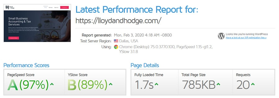 Performance Report for Lloyd and Hodge
