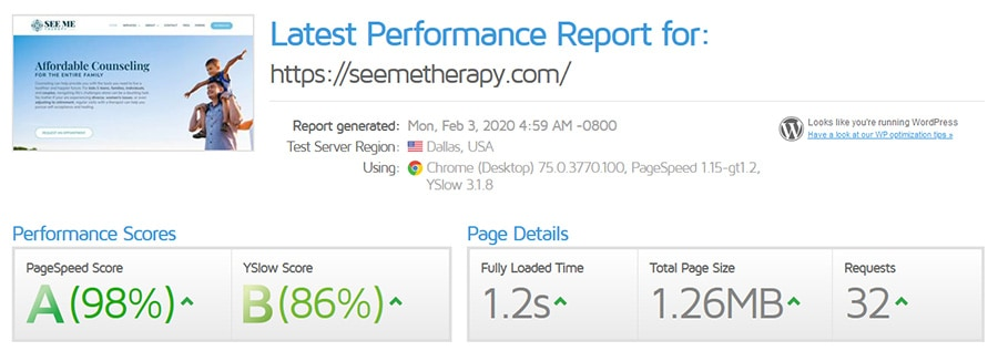 Performance Report for See Me Therapy